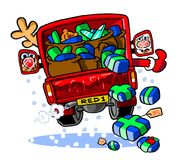 Cartoon Santa delivery truck Royalty Free Stock Photo