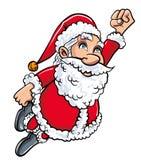 Cartoon Santa flying like superman. Isolated on white Stock Photo