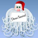 Cartoon Santa frame with big beard. Cartoon Santa with text frame on his big beard Stock Photo