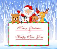 Cartoon Santa and friend holding Christmas greeting with winter background Royalty Free Stock Image