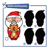 Cartoon Santa game. Vector illustration of shadow matching game with happy cartoon Santa for children Stock Photography