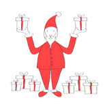 Cartoon Santa with gift boxes Stock Photos