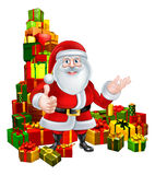 Cartoon Santa and Gifts Stock Image
