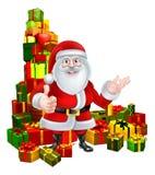 Cartoon Santa and Gifts Stock Image