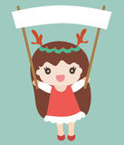 Cartoon santa girl with an empty space for your text Stock Photography