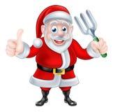 Cartoon Santa Giving Thumbs Up and Holding Fork Stock Image