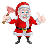 Cartoon Santa Giving Thumbs Up and Holding Plunger Stock Photography