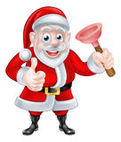 Cartoon Santa Giving Thumbs Up and Holding Plunger Royalty Free Stock Photos