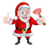 Cartoon Santa Giving Thumbs Up and Holding Plunger Royalty Free Stock Photo
