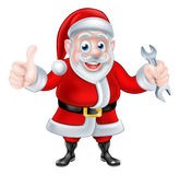 Cartoon Santa Giving Thumbs Up and Holding Spanner Royalty Free Stock Image