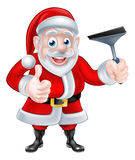 Cartoon Santa Giving Thumbs Up and Holding Squeegee Royalty Free Stock Photo