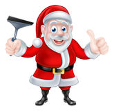 Cartoon Santa Giving Thumbs Up and Holding Squeegee Stock Photos
