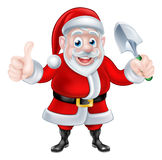 Cartoon Santa Giving Thumbs Up Holding Trowel Spade Royalty Free Stock Images