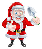 Cartoon Santa Giving Thumbs Up Holding Trowel Spade Royalty Free Stock Images