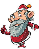 Cartoon santa giving thumbs up. Isolated on white Stock Photo