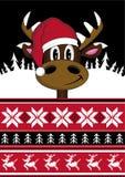 Cartoon Santa Hat Reindeer Stock Image
