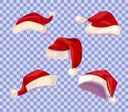 Cartoon Santa hats set Royalty Free Stock Images