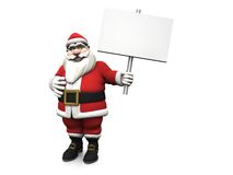 Cartoon Santa holding blank sign. Stock Images