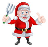 Cartoon Santa Holding Fork and Giving Thumbs Up Royalty Free Stock Photography
