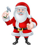 Cartoon Santa Holding Hammer Stock Image