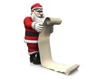 Cartoon Santa holding long wishlist. Stock Photo