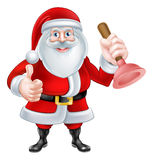 Cartoon Santa Holding a Plunger Royalty Free Stock Photos