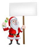 Cartoon Santa Holding Sign and Brush Stock Image