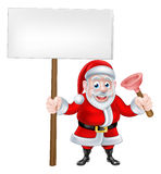 Cartoon Santa Holding Sign and Plunger Stock Photos