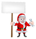 Cartoon Santa Holding Sign and Spanner Stock Image