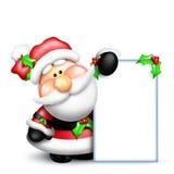 Cartoon Santa Holding Tall Blank Sign Royalty Free Stock Photos