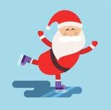 Cartoon Santa ice skates winter sport illustration Stock Photography