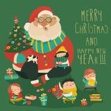 Cartoon Santa with kids. Vector greeting card royalty free illustration