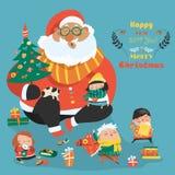 Cartoon Santa with kids Royalty Free Stock Photography
