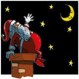 Cartoon Santa loooking at the moon Stock Image
