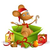 Cartoon Santa Mouse 2. An illustration featuring a cartoon mouse wearing Santa hat and scarf sitting in an open gift box with candy cane and other presents Royalty Free Stock Image