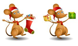 Cartoon Santa Mouse Royalty Free Stock Photo