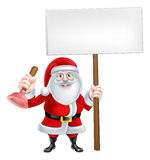 Cartoon Santa Plumber Sign Stock Photo