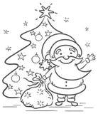 Cartoon Santa with presents and Christmas tree. Black and white Royalty Free Stock Photo