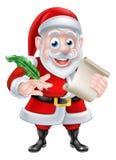 Cartoon Santa Quill and Scroll Stock Photos