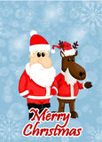 Cartoon santa and reindeer Stock Photography
