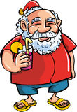 Cartoon Santa relaxing with a cocktail Royalty Free Stock Image