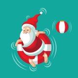 Cartoon Santa relaxing in an inner tube Stock Image