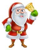 Cartoon Santa Ringing Bell. An illustration if a happy Cartoon Santa Claus character Ringing a gold hand Bell Stock Photos