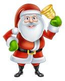 Cartoon Santa Ringing Bell. An illustration if a happy Cartoon Santa Claus character Ringing a gold hand Bell Stock Image