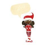 Cartoon santa's helper woman with speech bubble Stock Photography