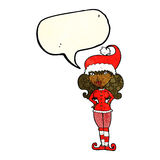 Cartoon santa's helper woman with speech bubble Stock Image