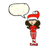 Cartoon santa's helper woman with speech bubble Royalty Free Stock Image