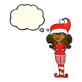 Cartoon santa's helper woman with thought bubble Royalty Free Stock Image