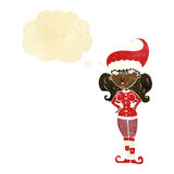 Cartoon santa's helper woman with thought bubble Stock Images
