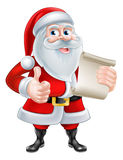 Cartoon Santa and Scroll Stock Image
